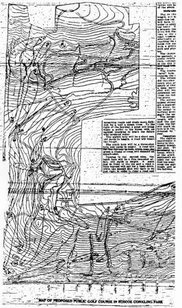 Roscoe Conkling Park public golf course plan, designed by Walter Travis, published in a Sept. 3, 1916, Utica, NY, newspaper.  Years later, newspaper accounts claim that the Valley View Municipal Golf Course, built on the Roscoe Conkling site, was based on the 1916 Travis plan.